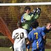 Delco goal keeper Dave Sousa makes the save.