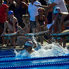 KRISTOPHER RADDER - BRATTLEBORO REFORMER<br /> Brattleboro's Teo Ogden leaps off the starting block in the Boys 10 & Under 100 Yard Medley Relay during a swim meet at the Brattleboro Living Memorial Park Pool on Tuesday, July 11, 2017.
