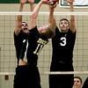 Christpoher Dock's Colton Young eases the ball over William Tennent's Dillon Cooney and Nick Gross.