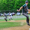 KRISTOPHER RADDER - BRATTLEBORO REFORMER<br /> Leland & Gray's Patrick McDonald tries to turn a double play against Woodstock during a baseball game at Leland & Gray Union Middle and High School on Wednesday, May 23, 2018.