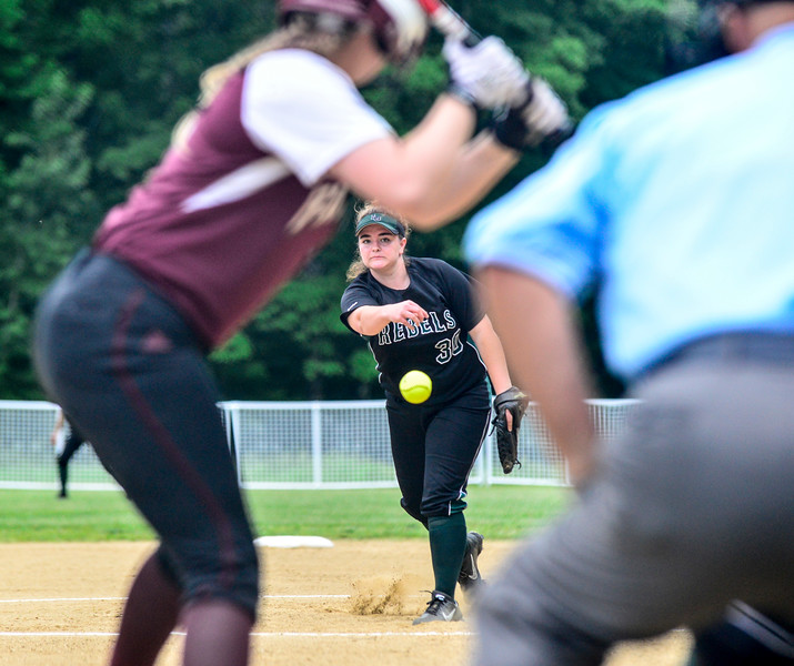 KRISTOPHER RADDER - BRATTLEBORO REFORMER<br /> Leland & Gray's Olivia Brown pitches to Fairfax's Taylor Mitchell during the Division 3 Quarterfinal at Leland & Gray Union Middle and High School on Thursday, May 31, 2018.