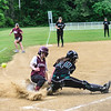 KRISTOPHER RADDER - BRATTLEBORO REFORMER<br /> Fairfax's Claire Bushey slides safely into home as Leland & Gray's catcher Erin Cutts could not get the ball during the Division 3 Quarterfinal at Leland & Gray Union Middle and High School on Thursday, May 31, 2018.
