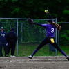 KRISTOPHER RADDER - BRATTLEBORO REFORMER<br /> Brattleboro's Jocelyn Aither pitches at St. Albans' Kaylee O'Brien during a softball playoff game at Brattleboro Union High School on Tuesday, May 30, 2017.