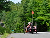 Alicia Dana, Putney resident, speeds through Vermont Route 5 on an endurance ride as she prepares herself for the Rio 2016 Paralympics. Kristopher Radder / Reformer Staff