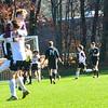 KRISTOPHER RADDER — BRATTLEBORO REFORMER<br /> Members of the Arlington soccer team celebrate their only goal of the game.