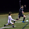 KRISTOPHER RADDER — BRATTLEBORO REFORMER<br /> Twin Valley's Jack Kehoe tries to keep the ball away from Stowe's Alex Tilgner during the Vermont Principals' Association Boys' Division 3 Soccer Championship at Castleton University, in Castleton, Vt., on Wednesday, Nov. 7, 2018.