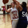 BBG_Paupack UDub_9840        Upper Dublin's Jen Myers is fouled while taking a shot by Wallenpaupack's Alexix Roman.