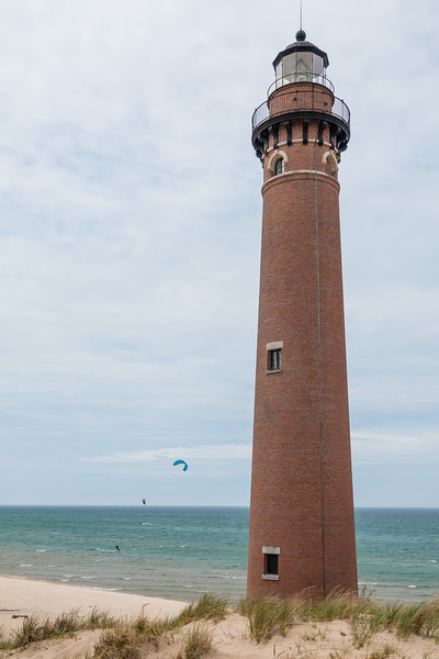 Kite surfers at Little Sable Lighthouse, Lake Michigan