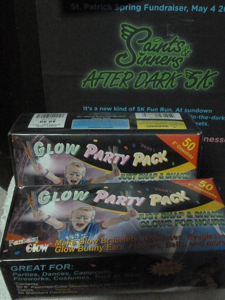 Two packs of bracelet-sized glow sticks.  I think Mike brought these to the trailer on Saturday.  Don't know where they came from.