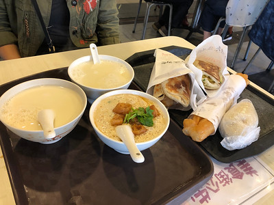 Breakfast of Champions - Sweet and Salty Soy Milk, Rice Ball, Egg and Pancakes, and Fresh Donut Stick