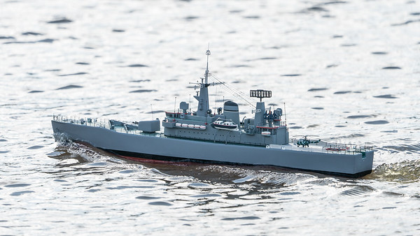 BBC Model World, David Hardy, HMS Hero, Leander-class, SRCMBC, Sea Rider, Solent Radio Control Model Boat Club, or Type 12M frigate @ Setley Pond, New Forest,England