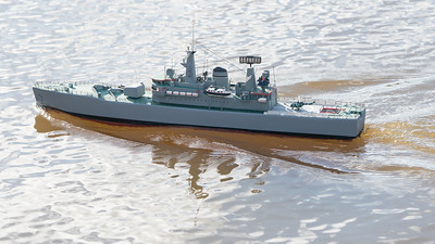 BBC Model World, David Hardy, HMS Hero, Leander-class, SRCMBC, Sea Rider, Solent Radio Control Model Boat Club, or Type 12M frigate @ Setley Pond, New Forest,England