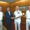 Da esquerda para a direita: Comandante Rui Amado, Jorge Pinheiro (SRI), Almirante António Silva Ribeiro e Comandante Pais Neto