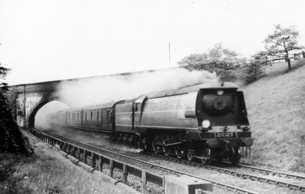 21C123 near Hildenborough 11th May 1946 with the 1 15PM Charing Cross-Margate service (later 34023 named Blackmoor then Blackmore Vale)