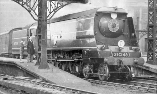 21C148 Crediton still with Southern Railway adornments on smokebox but with British Railways on tender Waterloo c1948