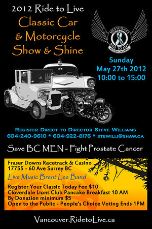 2012 Ride To Live Show & Shine poster;