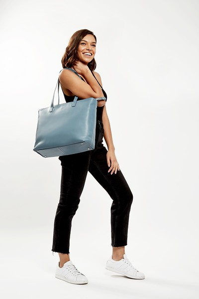 """Mayfair; Luxe; Maddox; Leather Tote; 15""""; 120-204-STB;On the model"""