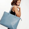 "Mayfair; Luxe; Maddox; Leather Tote; 15""; 120-204-STB;On the model"