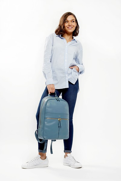 "Mayfair; Luxe; Beaux; Leather Backpack; 14""; 120-401-STB;On the model"