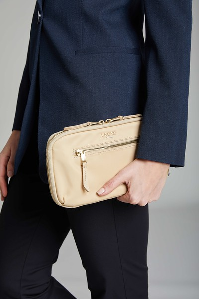 Mayfair, Travel Wallet, Trench Beige, 119-051-TRB, Female Model