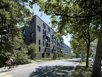 01 Haus A: Ansicht von der Weltpoststrasse | House A: view from Weltpoststrasse road