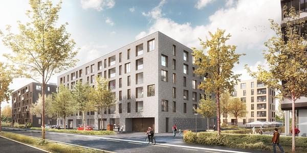 01 Visualisierung: Strassenansicht mit Blick auf Haus C | Visualisation: street aspect looking towards House C