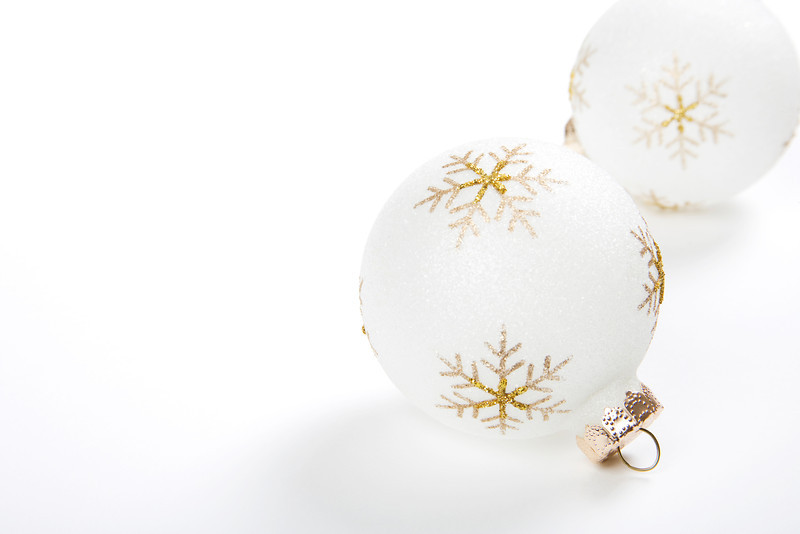High Key Christmas Bulbs on White Background.  Carefully spotted and retouched.