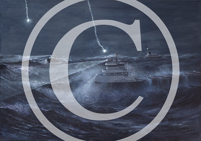"1999:  ""Where Are They?""  The search for the Edmund Fitzgerald between freighters Arthur M. Anderson (background) and William Clay Ford (foreground).  28x40 Acrylic, Not for Sale.   Lithograph Prints are available.  Also, at this time a 28x40 canvas print is available. (Image File Size:  844x1200)"