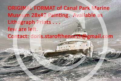 """ORIGINAL FORMAT:  """"Time's Running Out"""", 1976 Canal Park Marine Museum Painting.  Signed/Numbered Lithograph Print.  Paper Size-24x36.  Image Size-19x32."""