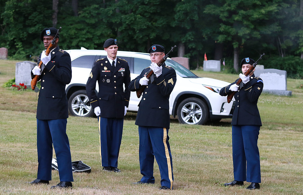. On Saturday June 23, 2018 WWII  veteran SSG Roy F. Davis was final put to rest in the Glenwood Cemetery in Ashby. He died on March 12, 1944. It took 74 years for him to come home. Members of the MA. Military Funeral Honors for the United States Army give a three-volley salute during the funeral ceremony for Davis. SENTINEL & ENTERPRISE/JOHN LOVE