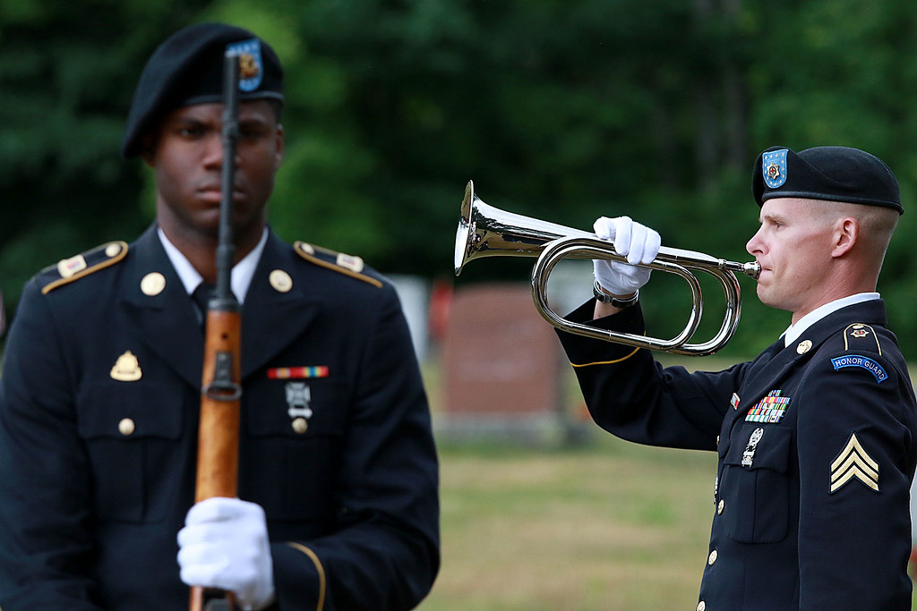 . On Saturday June 23, 2018 WWII  veteran SSG Roy F. Davis was final put to rest in the Glenwood Cemetery in Ashby. He died on March 12, 1944. It took 74 years for him to come home. Sgt Deven Klem with the MA. Military Funeral Honors for the United States Army plays taps during the funeral for Davis. SENTINEL & ENTERPRISE/JOHN LOVE