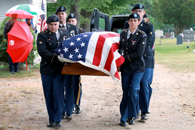 On Saturday June 23, 2018 WWII  veteran SSG Roy F. Davis was final put to rest in the Glenwood Cemetery in Ashby. He died on March 12, 1944. It took 74 years for him to come home. The Army National Guard Honor Guard out of Hanscom Air Force Base where the pallbearer for Davis during the ceremony. SENTINEL & ENTERPRISE/JOHN LOVE