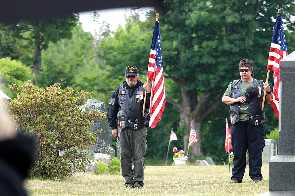 . On Saturday June 23, 2018 WWII  veteran SSG Roy F. Davis was final put to rest in the Glenwood Cemetery in Ashby. He died on March 12, 1944. It took 74 years for him to come home. American legion Riders from Chapter 221 out of Bedford MA. Charly and Lori Smith from Pepperell were on had to help pay respects to Davis during the funeral ceremony. SENTINEL & ENTERPRISE/JOHN LOVE