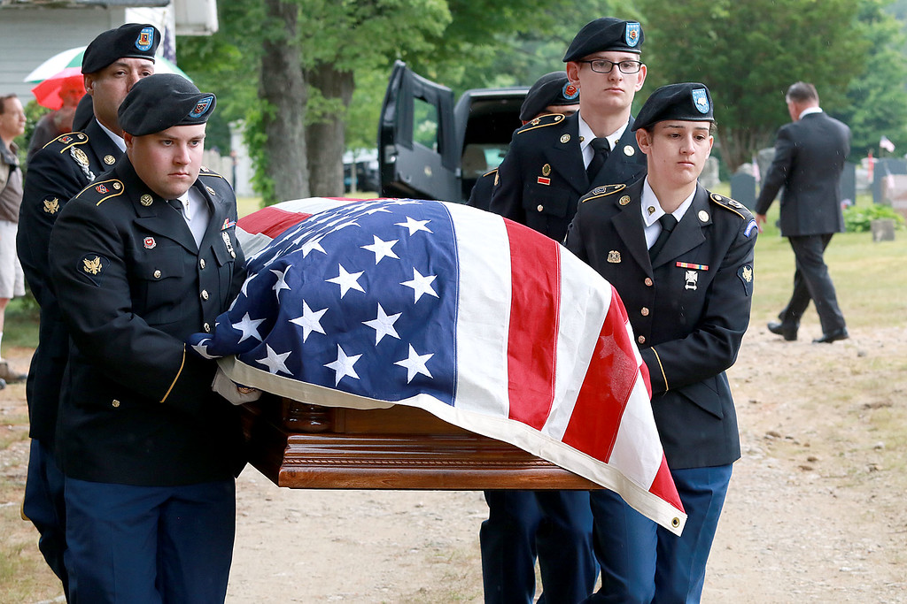 . On Saturday June 23, 2018 WWII  veteran SSG Roy F. Davis was final put to rest in the Glenwood Cemetery in Ashby. He died on March 12, 1944. It took 74 years for him to come home. The Army National Guard Honor Guard out of Hanscom Air Force Base where the pallbearer for Davis during the ceremony. SENTINEL & ENTERPRISE/JOHN LOVE