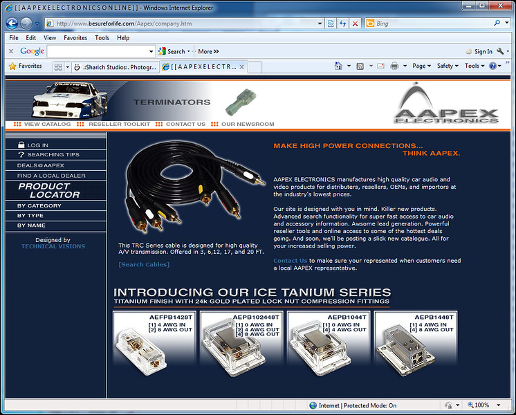 """View site as originally designed at <a href=""""http://www.technicalvisions.com/Samples/Aapex/company.htm"""">http://www.technicalvisions.com/Samples/Aapex/company.htm</a>"""