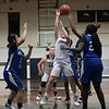 St. Bernard's Central Catholic High School girls basketball played Worcester Technical High School Wednesday, Jan. 8, 2020. St. B's #11 Brooke Senatore ties get a shot off. SENTINEL & ENTERPRISE/JOHN LOVE