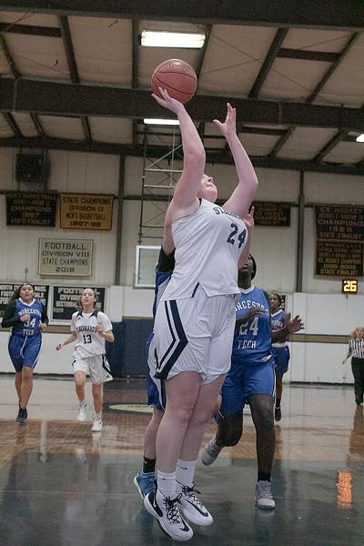 St. Bernard's Central Catholic High School girls basketball played Worcester Technical High School Wednesday, Jan. 8, 2020. ST. B's #24 Rhiannon Young [puts up a shot. SENTINEL & ENTERPRISE/JOHN LOVE