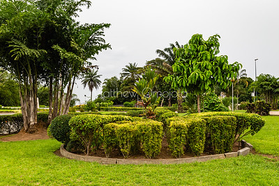 The gardens of St. Paul's Catholic Cathedral, Abidjan, Ivory Coast Cote d'Ivoire West Africa.