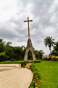Mounted large Crucifix on the grounds of St. Paul's Cathedral Abidjan Ivory Coast west africa.