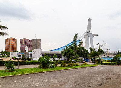 The garden of St. Paul's Catholic Cathedral, Abidjan, Ivory Coast Cote d'Ivoire West Africa.