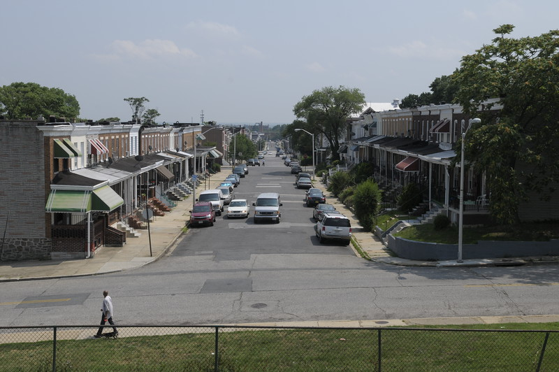 View down N. Smallwood St from Frederick Douglass High School