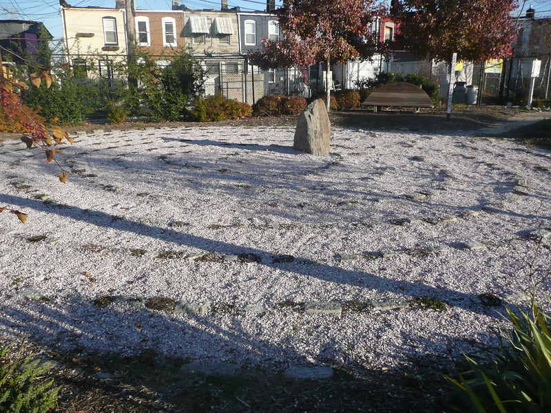 Meditation spiral in formerly vacant lot