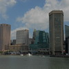 Inner Harbor from the water, World Trade Center and National Aquarium on right