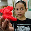 Angel Lozada, 10, shows off his clay creation during the STEAM event at MOC Head Start Hosmer in Fitchburg on Wednesday, April 26, 2017. SENTINEL & ENTERPRISE / Ashley Green
