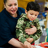 Neidy Solis and Ezkiel Puello, 3, take part in the STEAM event at MOC Head Start Hosmer in Fitchburg on Wednesday, April 26, 2017. SENTINEL & ENTERPRISE / Ashley Green
