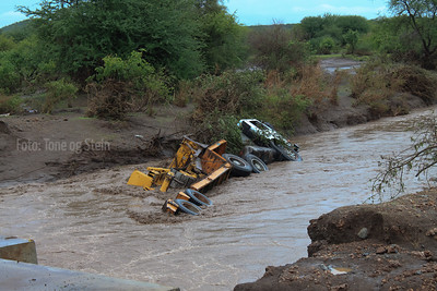 Truck near Mto wa Mbu washed into river by flood, Nov 2011. 4 persons drowned in this accident.