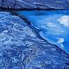 Triangular ice in pond, blå is i liten dam, Hilleshamn, gratangen, Norway