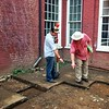 Intern Steven Lyle and Staff Archaeologist Donald Gaylordat the Robinson Hall site.