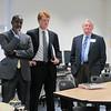 Mayor Warren, Congressman Kennedy and President O'Donnell enjoy their tour of the MassBay STEM Division laboratories.