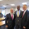 Secretary Malone, Mayor Warren, and AVP of Marketing at MassBay Jeremy Solomon -- all from Newton North High School class of 1988.